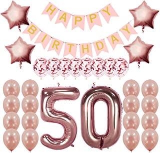Rose Gold 50th Birthday Decorations Party Supplies Gifts for Women - Create Unique Events with Happy Birthday Banner, 50 Number and Confetti Balloons