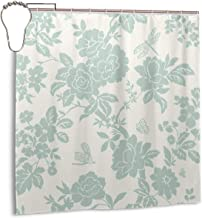 Depart-Lily Duck Egg Blue Shower Curtains for Bathroom Showers and Bathtubs 72 x 72 Inch