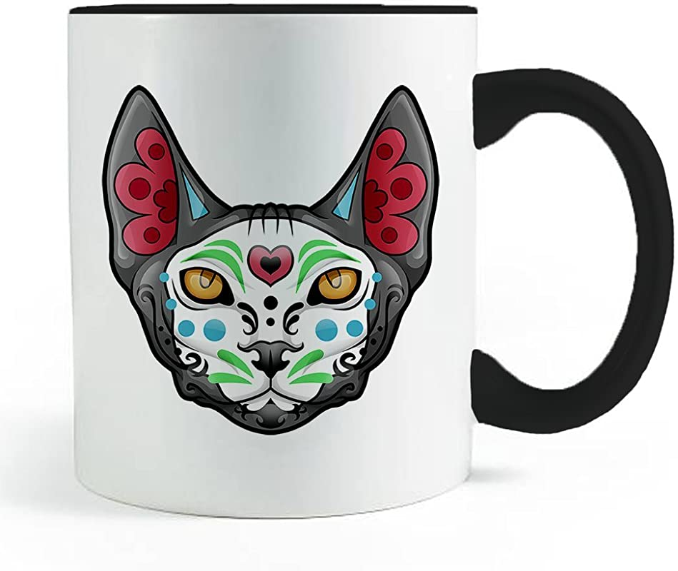 Sugar Skull Sphynx Cat Coffee And Tea Mug