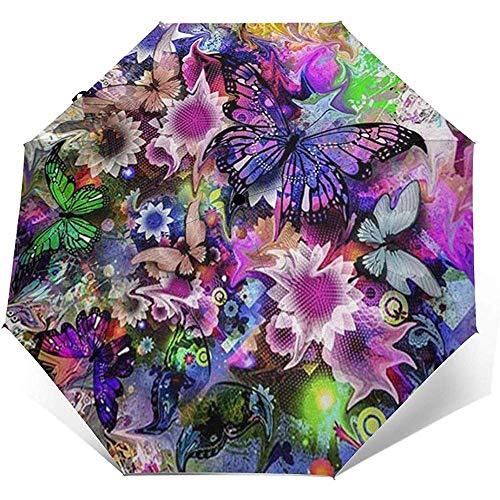 3D Schmetterling Blume DIY Zeichnung Farbe gedruckt Winddicht Reisen Regenschirm - Winddicht, verstärkt Baldachin