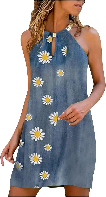 Oiumov Summer Dresses for Women, Womens Sleeveless Halter Neck Floral Mini Dress Casual Beach Sundress Loose Boho Dress