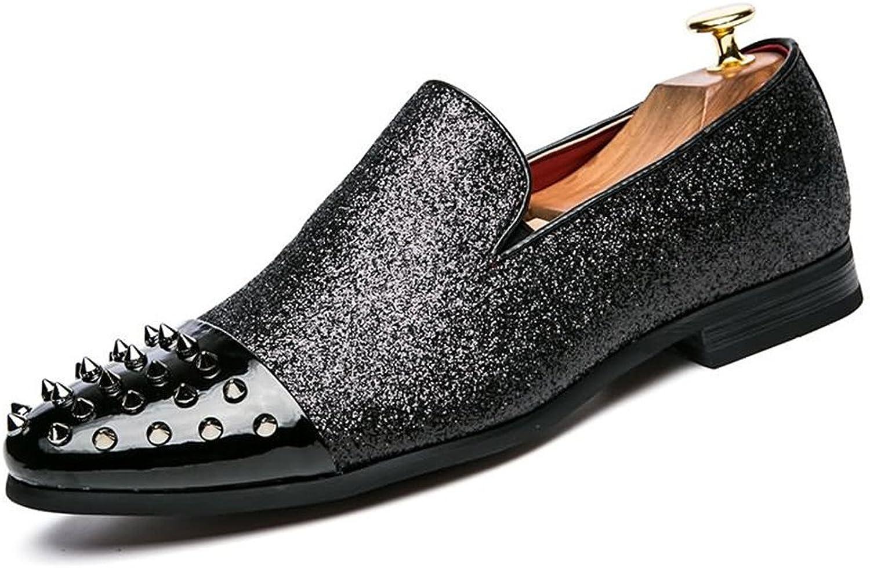CHENDX Schuhe, Schuhe, Komfortable Peep Toe Herren Oxfords Flache Ferse mit Niet Solid Farbe Slip On Casual Schuhe (Farbe   Schwarz, Größe   42 EU)  ganz billig