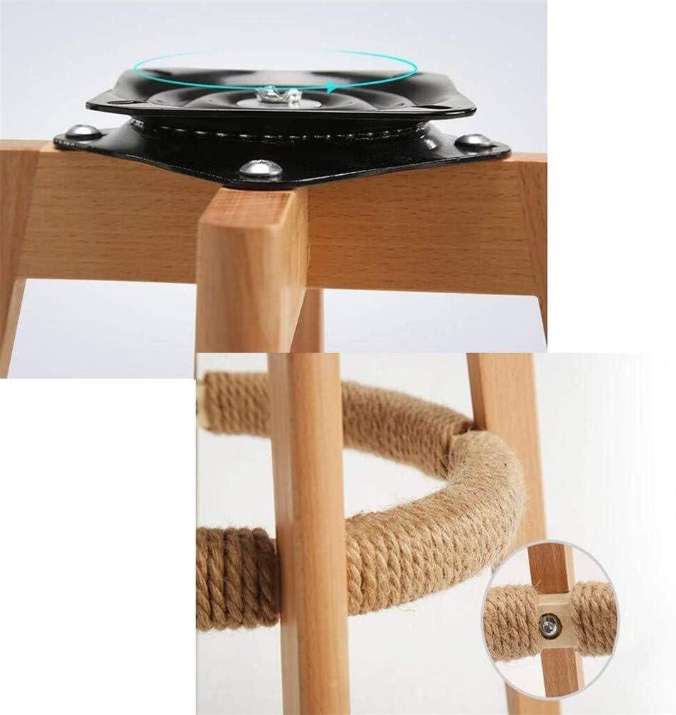 Coussin rempli de linge-tabouret en bois massif tabouret tournant avec chaise compteur dossier pédale tressé de fil (Color : 3) 1