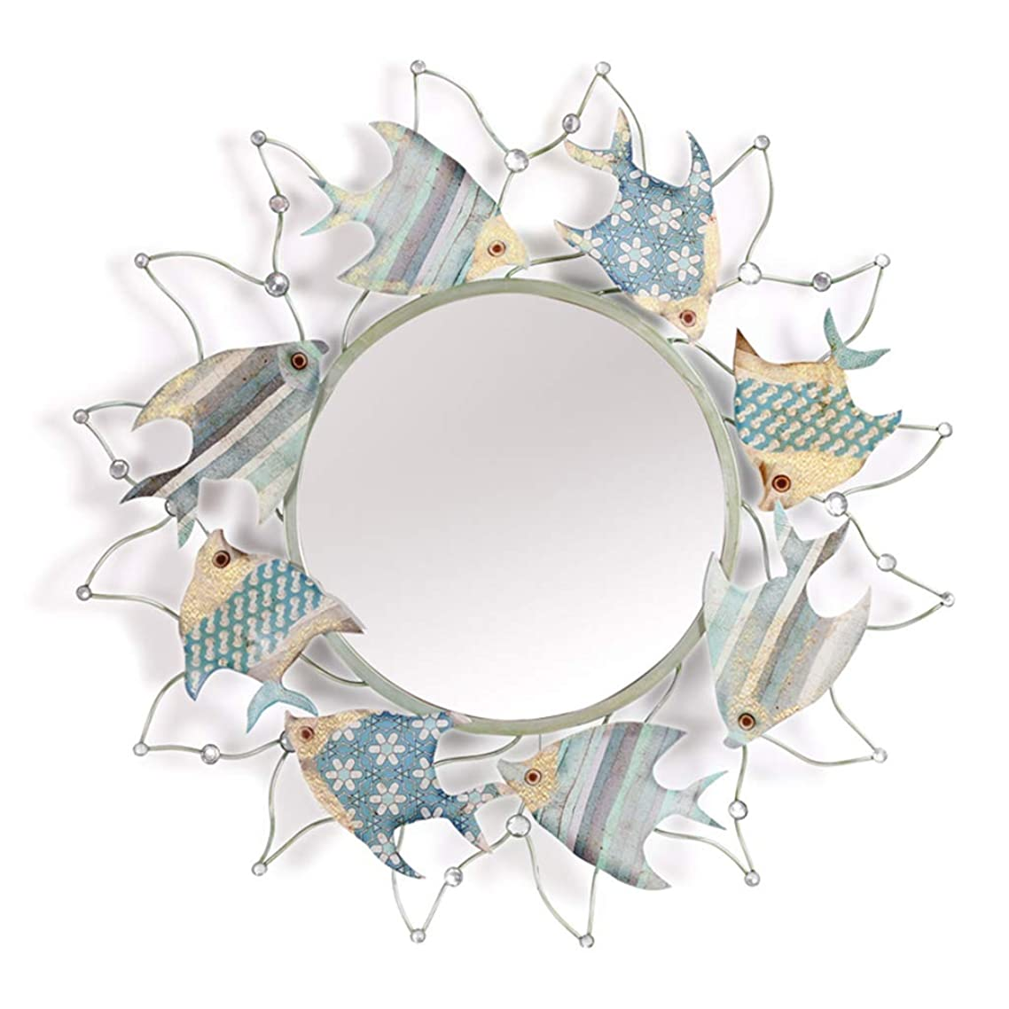 お願いしますタバコちなみに装飾壁鏡、 3D海洋魚の金属フレーム、 壁掛けアンティークのバスルームの鏡。 78 cm、 リビングルーム、子供部屋、エントランスの地中海スタイルの装飾