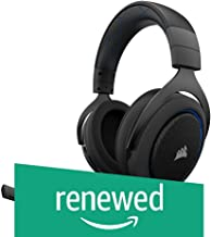 (Renewed) CORSAIR HS50 - Stereo Gaming Headset - Discord Certified Headphones - Works with PC, Mac, Xbox One, PS4, Nintendo Switch, iOS and Android(CA-9011172-AP) - Blue and Black
