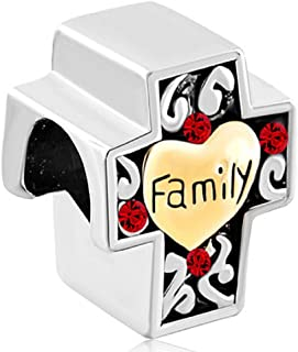 Q&Locket I Love My Family Heart Charms Mothers Day Gift for Charms Bracelet