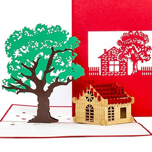Pop-up kaartHuis & Nature 3D tegoedbonnen & wenskaart voor verhuizing, inhuis, huisbouw & pensioen - als verjaardagskaart, cadeaubon, geldgeschenk & uitnodigingskaart voor uitstapjes in het groen