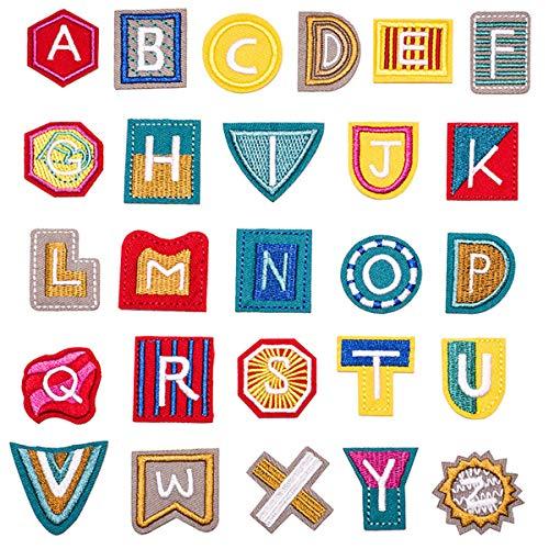Butie Parches bordados con letras de la A a la Z, para coser o planchar, para ropa, vestido, sombrero, vaqueros, costura, flores, accesorio DIY (R-38)