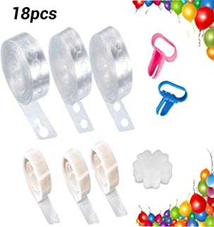 Balloon Decorating Strip Kit for Arch Garland, 3 Rolls 16Ft Balloon Tape Strips, 300 Dot Glue with Bonus 2 Pcs Tying Tool, 10 Flower Clip for Party Wedding Birthday Xmas Baby Shower DIY
