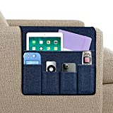 Joywell Sofa Armrest Organizer, Remote Holder on Couch & Chair Arm, 5 Pockets for TV Remote Control, Magazine, Books, Cell Phone, iPad, Navy