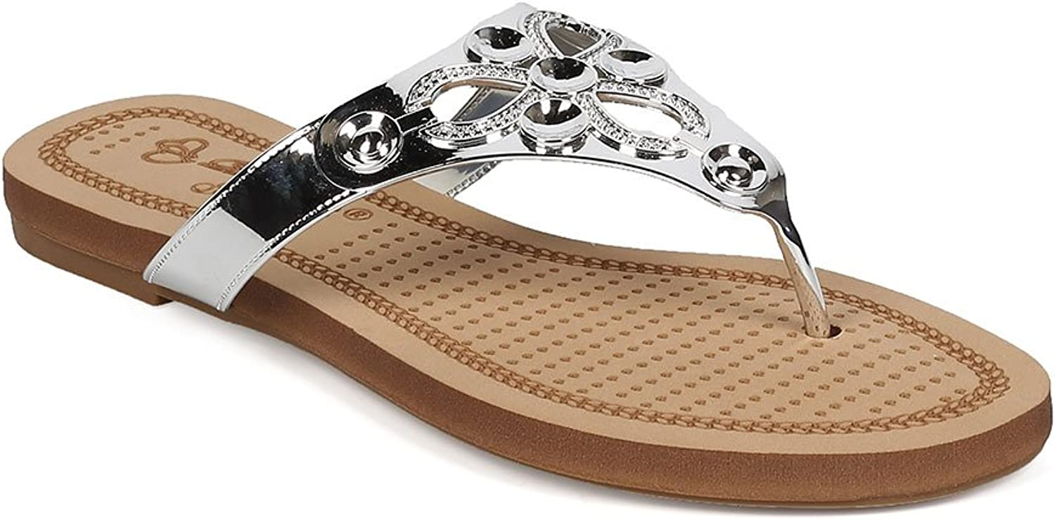 DBDK Women Metallic Embossed Boho Slip On Thong Sandal EG11 - Silver