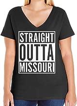 Tenacitee Women's Straight Outta Missouri Plus Size V Neck T-Shirt, Size 1, Black