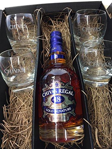 Chivas Regal Set / Geschenkset - Chivas Regal Gold Signature 18 Jahre Whisky ,Whiskey,Scotch + 2 Tumbler