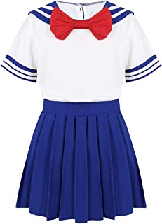 Kids Girls School Uniform Sailor Collar Bowtie T-Shirt Pleated Skirt Outfit Set Japanese Cosplay Costume