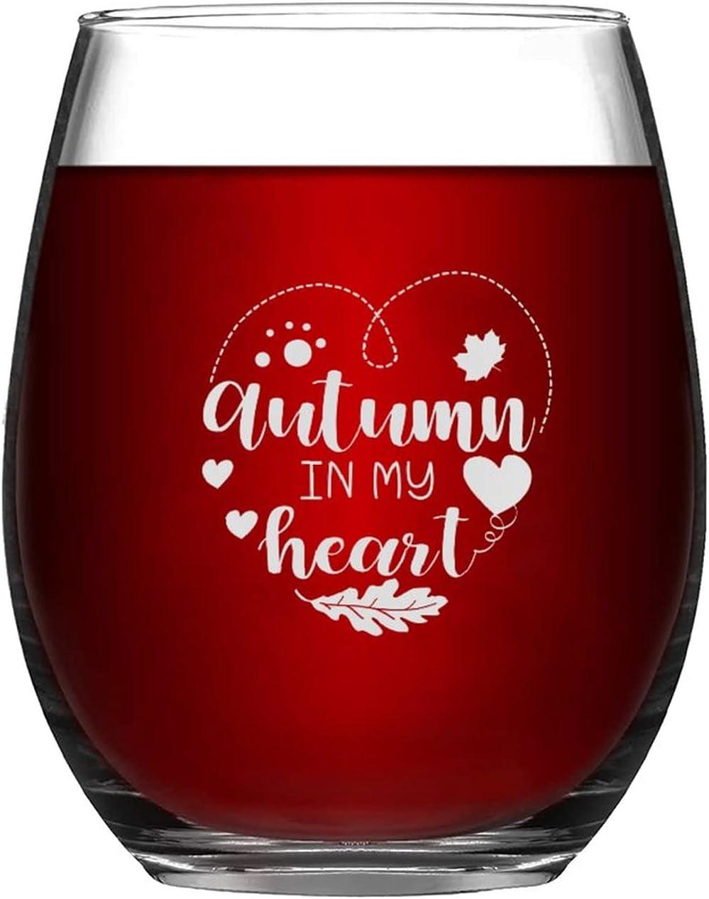 Wine Glasses Autumn In My Heart Glass Raleigh Mall Under blast sales Laser Happy Engraved Autum
