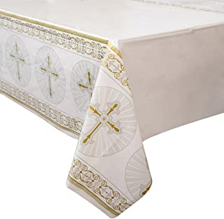 """Gold & Silver Radiant Cross Religious Plastic Tablecloth, 84"""" x 54"""""""