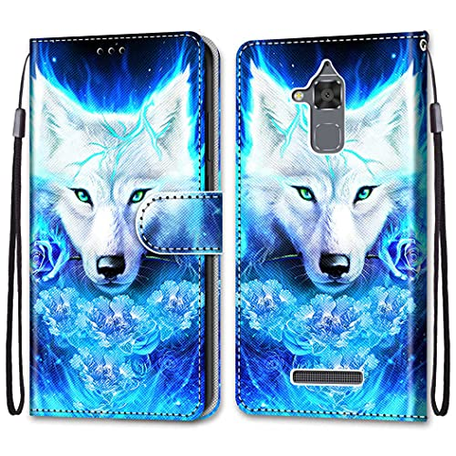 nancencen Kompatibel mit Asus Zenfone 3 Max ZC520TL (5.2) Handyhülle, PU Leder Flip Cover Wallet Hülle (Anti-Fall) Anwendbar Asus 3 Max ZC520TL (5.2) - Weißer Wolf