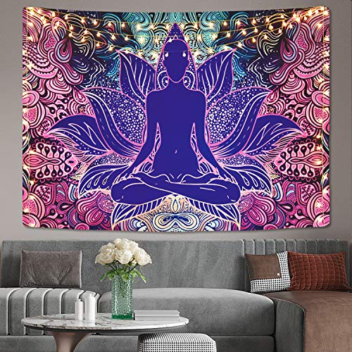 Psychedelic Lotus Tapestry Yoga Meditation Tapestries Trippy Buddhism Tapestry Hippie Bohemian Tapestry Wall Hanging for Room (51.2 x 59.1 inches)