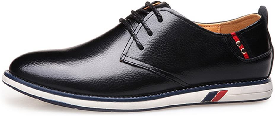 Cortical Mens Leather Shoes Men Genuine Cowhide Leather Upper Lace Up Flat Sole Loafer Soft Color : Black, Size : 6.5 MUS