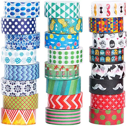 24 Rolls Washi Masking Tape Set,Decorative Craft Tape Collection for DIY and Gift Wrapping