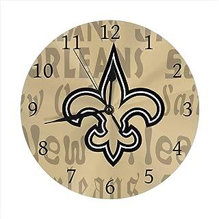 Gdcover Custom New Orleans Saints Quartz Wall Clock Arabic Numerals Silent Non-Ticking for Home Living Room Decor (9.8 Inch)