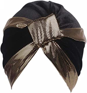 QingFan Women Velvet Cancer Chemo Pre Tied Knitted Hat Beanie Scarf Turban Headband Elegant Wrap Cap