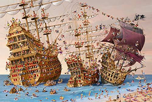 QEQEQE Rompecabezas de Madera Juguetes 500 PiezasRompecabezas deBarco Pirata Rompecabezas dedescompresión Regalo Educativo, Juego Familiar Juguetes desafiantes para Adultos Niños Adolescentes
