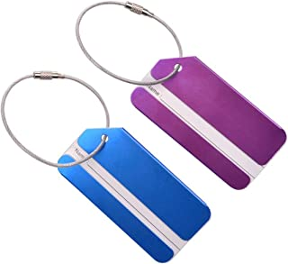 2pcs Suitcase Identifiers with Name Cards Metal Strings Travel Luggage Baggage Tags