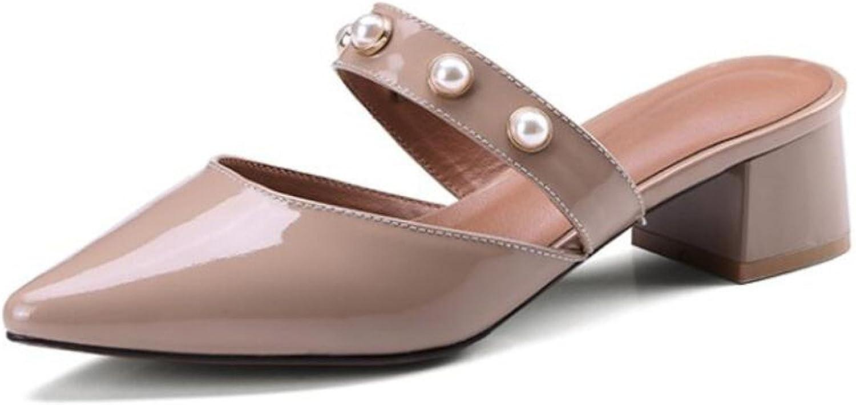 DANDANJIE Frauen Hausschuhe Spitz Perle hochhackigen Lounger Sandalen Slip Atmungsaktive Schuhe Frühling Sommer Hausschuhe (Grau Nude Farbe 34-39) (Farbe   Nude Farbe, Gre   38)
