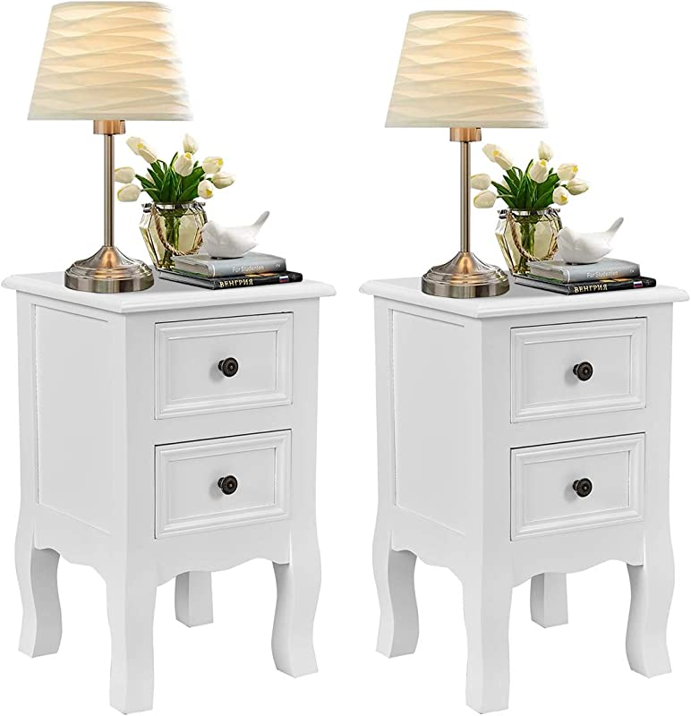 Giantex Nightstand Wooden Mini W 2 Storage Drawers For Living Room Bedroom Kid S Room Storage Accent Home Funiture End Table 2 White