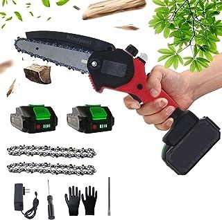ミニチェーンソー6インチ充電式チェーンソー携帯用 24V 電動チェーンソー 小型 ツール電気こぎり枝打ち 伐採,赤