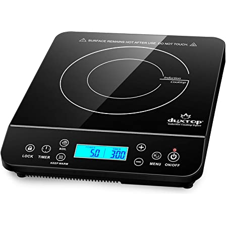 Duxtop Portable Induction Cooktop, Countertop Burner Induction Hot Plate with LCD Sensor Touch 1800 Watts, Black 9610LS BT-200DZ