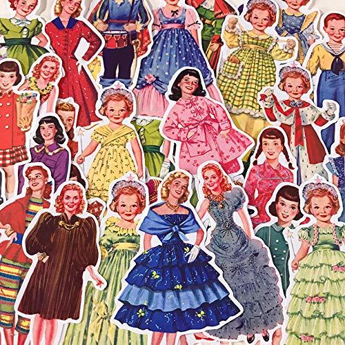 HENJIA Bambola di Carta retrò Vento Europea e Americana Ragazza Carina Ragazzo Principessa Adesivo fatturati a Mano Idea Album diario