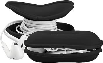 MAIRUI Earbud Case Holder Earphone Case Wrap Earbuds Nest Tangle Free Silicone Organizer (Black)