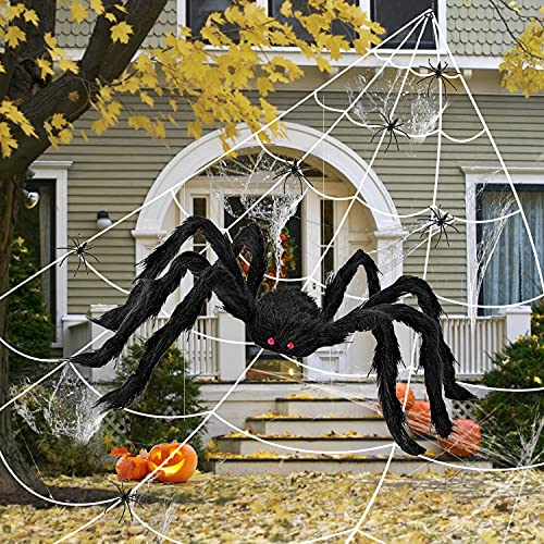 Aizmei Halloween Spider Web, 49″ Giant Halloween Spider + 200″ Spider Webs Decoration, Scary Black Hairy Spider & Huge Triangular Cobwebs for Outdoor Indoor Yard Lawn Tree Party