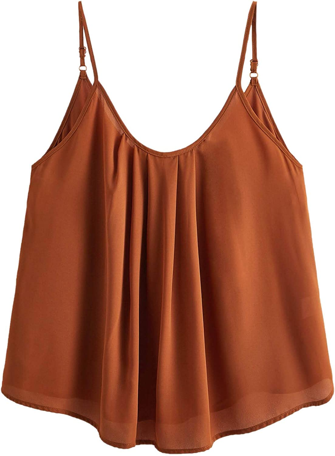 Romwe Women's Plus Size Casual Cami Tank Spaghetti Strap Camisole Pleated Scoop Neck Sleeveless Tops