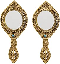 Hand Mirror Pair Round Shape Beautifully Carved in Metal Gold Finish by Handicrafts Paradise