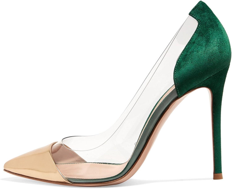 FSJ Women Elegant Stiletto Clear Pumps High Heels Slip On Party Wedding Dress shoes Size 4-15 US