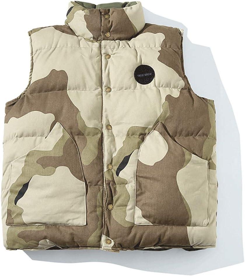 HXR Men's Winter Both Sides can wear Casual Camouflage Cotton Vest Vests (Color : A, Size : L)