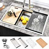 HOSINO 33 Inch Drop In Kitchen Sink Double Ledges Workstation Sink 16 Gauge Topmount 304 Stainless...