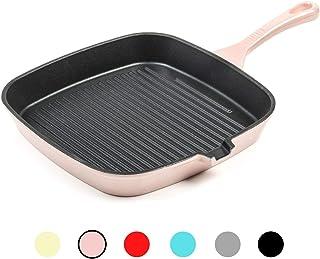 Cacerola redonda de hierro fundido, de cerámica, apta para inducción, gas, apta para horno holandés, con tapa, 10 años 23.5 cm Grill Pan rosa