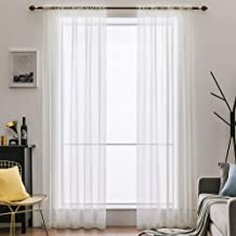 MIULEE 2 Panels Solid Color Sheer Window Curtains Elegant Window Voile Panels/Drapes/Treatment for Bedroom Living Room (54X108 Inches Ivory)