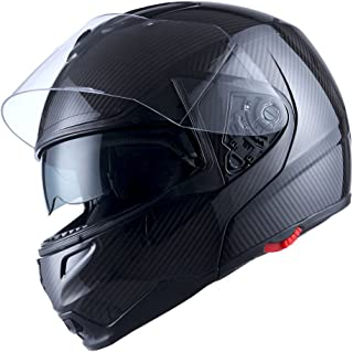 1Storm Motorcycle Street Bike Modular/Flip up Dual Visor/Sun Shield Full Face Helmet Carbon Fiber Black, Size Size L (57-58 CM,22.4/22.8 Inch)