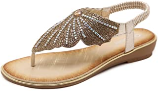 Women Sandals Toe Post Flip Flops, Europe and America Sandals Rhinestone Comfortable Thick Bottom Large Size Flat Shoes