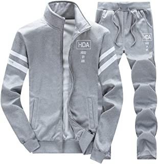 Men's 2 Two Piece Outfits Casual Track Suit Jacket+ Pants Jogger Set