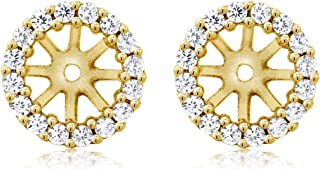 925 Yellow Gold Plated Sterling Silver Earring Jackets for 7mm Round Studs