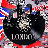 London Vinyl Record Clock Wall Decoration Modern Vintage Home Room Art - Win a prize for feedback