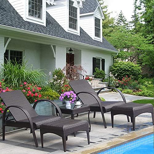 ZSCC Tumbonas de lujo, chaise lounge, juego de tumbonas con pedal y mesa de centro, aspecto de ratán de resina y respaldo ajustable, chaise longue para exteriores, sillas reclinables para la piscina