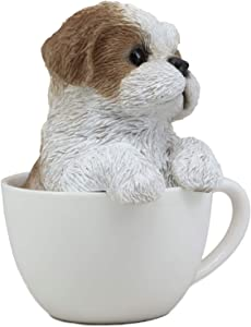 """Ebros Realistic Adorable Shih Tzu Dog in Teacup Statue 5.75"""" Tall Pet Pal Tibet Lion Royal Canine Collectible Decor Figurine with Glass Eyes of Pedigree Dogs Pets Buddies Animal Collectibles and Gifts"""