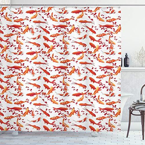 ABAKUHAUS Fisch Duschvorhang, Zierwassertiere, Klare Farben aus Stoff inkl.12 Haken Farbfest Schimmel & Wasser Resistent, 175 x 200 cm, Orange Weiß